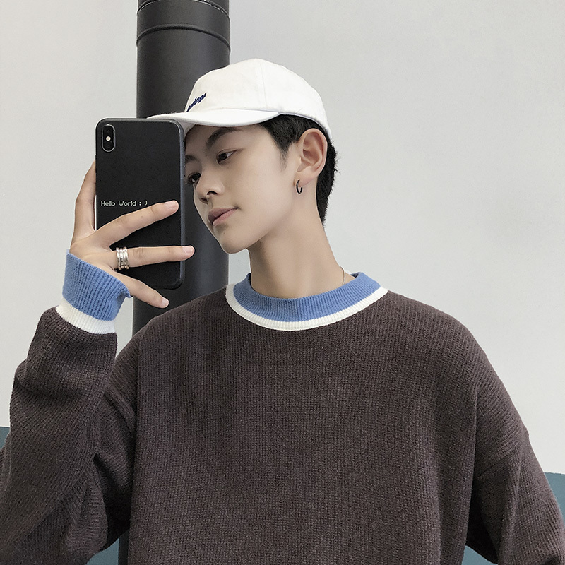 Men's Sweaters Round-Neck Casual Personality Autumn/winter New Slim Wear Loose Clay-Color
