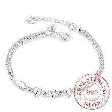 Charm-Bracelets Sterling-Silver-Jewelry Heart Women Double Angel-Wings Crystal Fashion