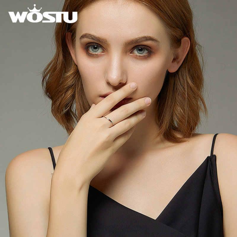 WOSTU אמיתי 100% 925 סטרלינג כסף פשוט אדום לב טבעת עבור נשים חתונת אירוסין אופנה כסף תכשיטי מתנה CQR620