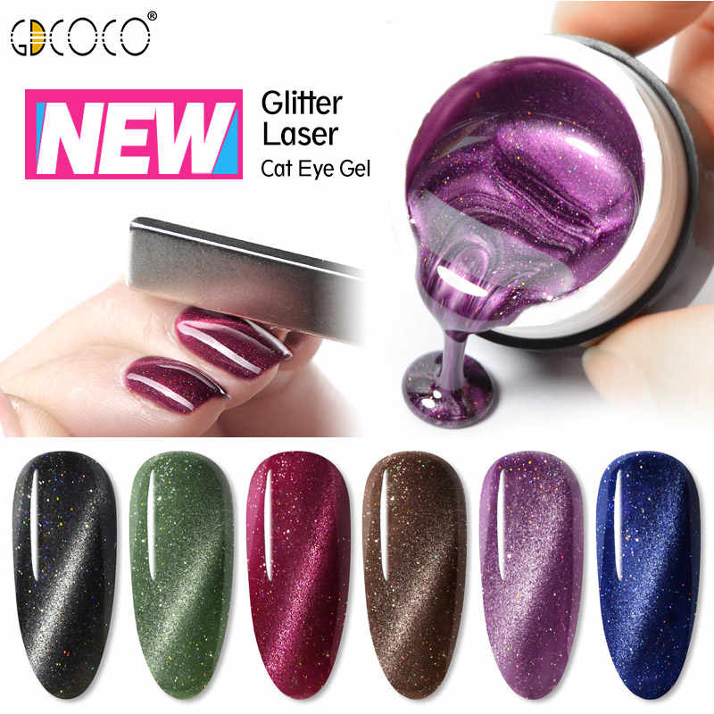 GDCOCO 5ml Laser Glitter Galaxy Cat Eye Gel Cat Kuku Baru Terang Megnetic Tahan Lama Varnish UV LED nail Lacquer