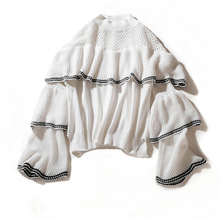 Autumn 2019 New Style Flare SLeeve Sweater Women Black White Color Hollow Out Ruffle Chest Pullover Knitted Sweaters For Woman