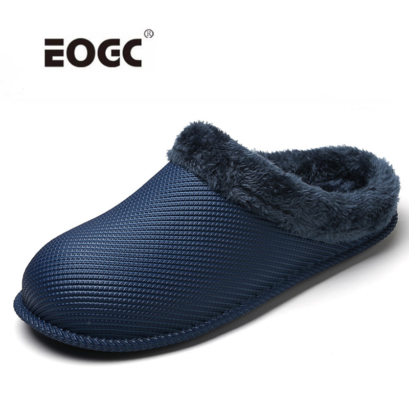 New Warm Men Slippers Short Plush Flock Indoor Slippers For Men Waterproof Non-slip Men Shoes Plus Sizes Couple Shoes