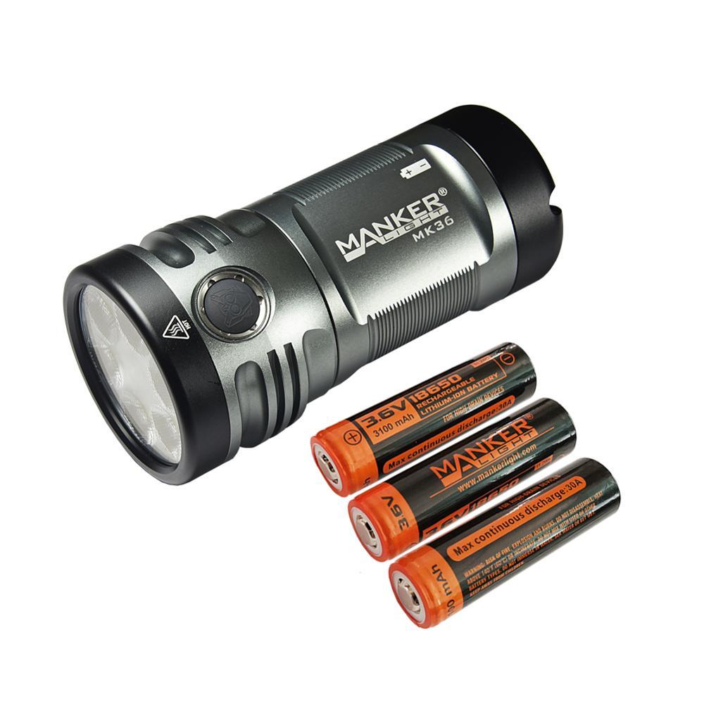 Manker MK36 12,000 lumens 6x CREE XHP50.2 LED / LUMINUS SST-40-W LED Flashlight + 3x 3100mAh High Discharge 30A 18650 batteries
