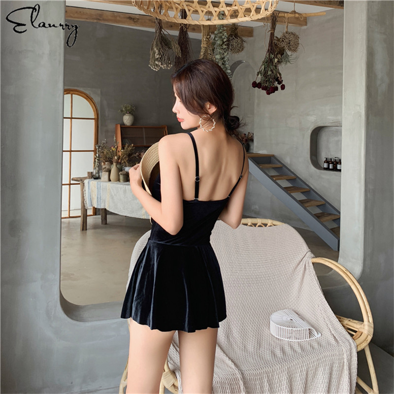 2019 Women Sport Swimming Suit Black Swim Skirt Backless Padded Bathing Suits High Quality Beach Wear Dress Girl Bodysuits