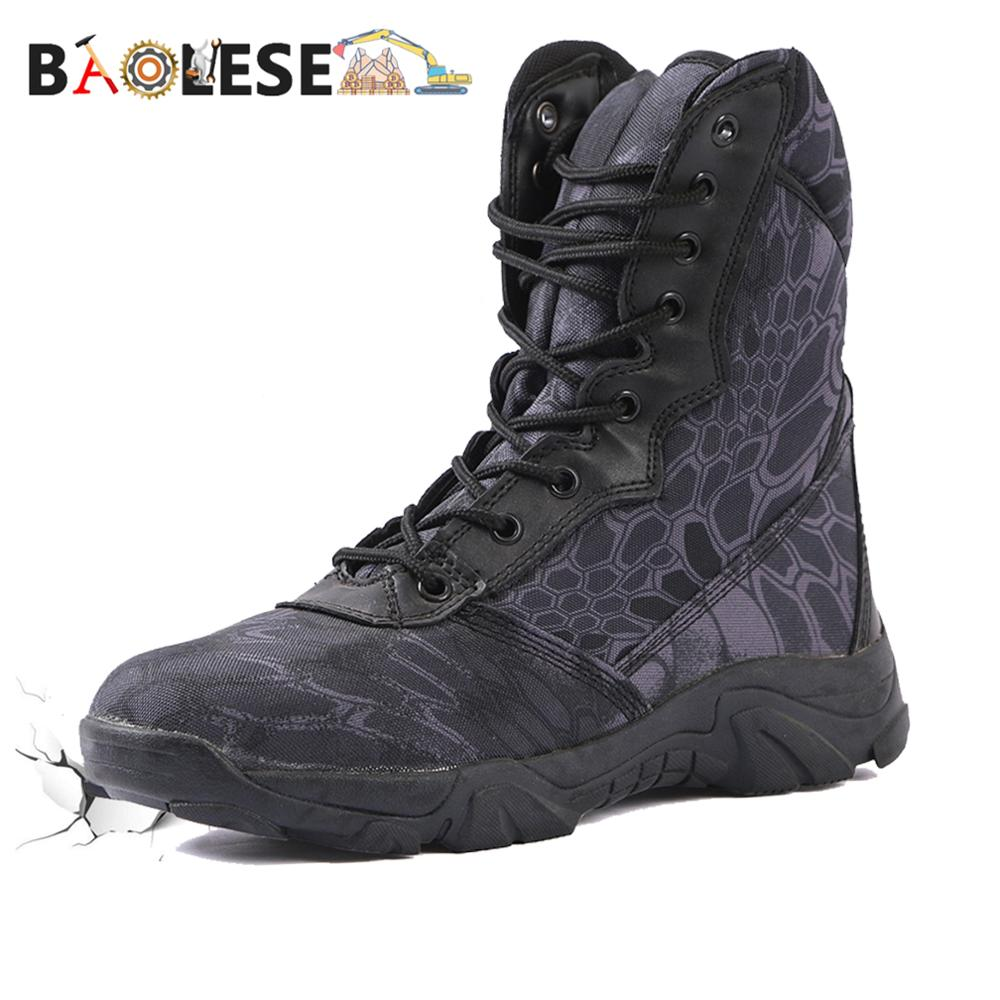 BAOLESEM Man Military Boots Army Tactical Boots Man Camoufalge Desert Boots Watertight Combat Special Force Shoes Ankle Boots