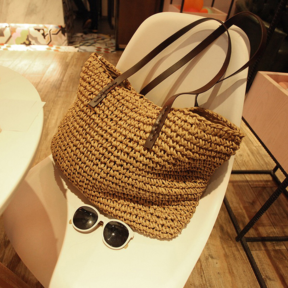New Women Handbags Large Capacity Woven Straw Handbag Summer Bohemia Beach Simple Leisure Vacation Straw Bag Travel Shoulder Bag