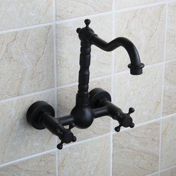 Grifos de lavabo montados en la pared de bronce frotado con aceite negro, grifos dobles para cocina, baño, grifo mezclador 360 caño giratorio