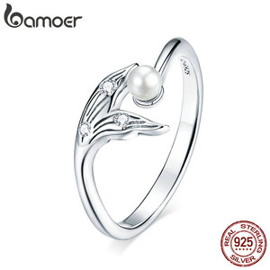 bamoer Genuine 925 Sterling Silver Fish Tail Adjustable Finger Rings for Women Free Size Pearl Jewelry Bijoux 2020 Summer BSR124