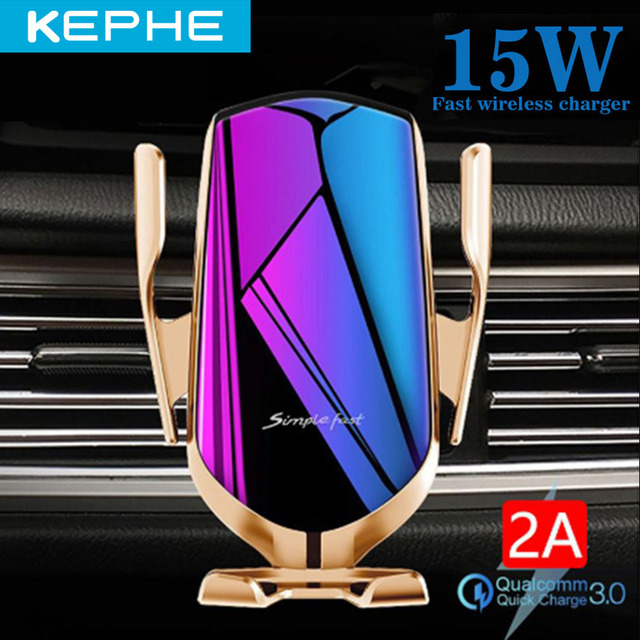 KEPHE 15W Automatic Clamping Car Wireless Charger for iPhone XS 11 Pro Samsung Xiaomi Infrared Sensor Car Phone Holder Charger 1