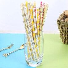 25 шт одноразовые бумажные соломинки цветочный узор Коллекция сок десерт выпечка соломинка бумажная соломинка для питья кухонный инструмент YL5