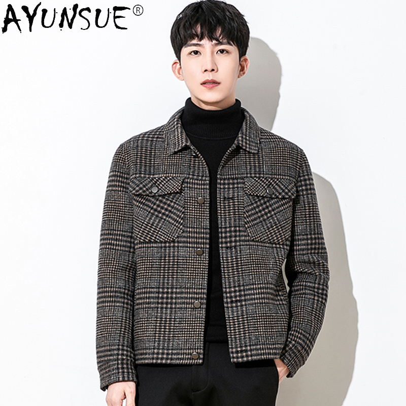 AYUNSUE Men Jacket Winter Mens Clothing Real Wool Clothes Korean Men's Jackets Plaid Double Sided Coat Casaco Masculino LXR439