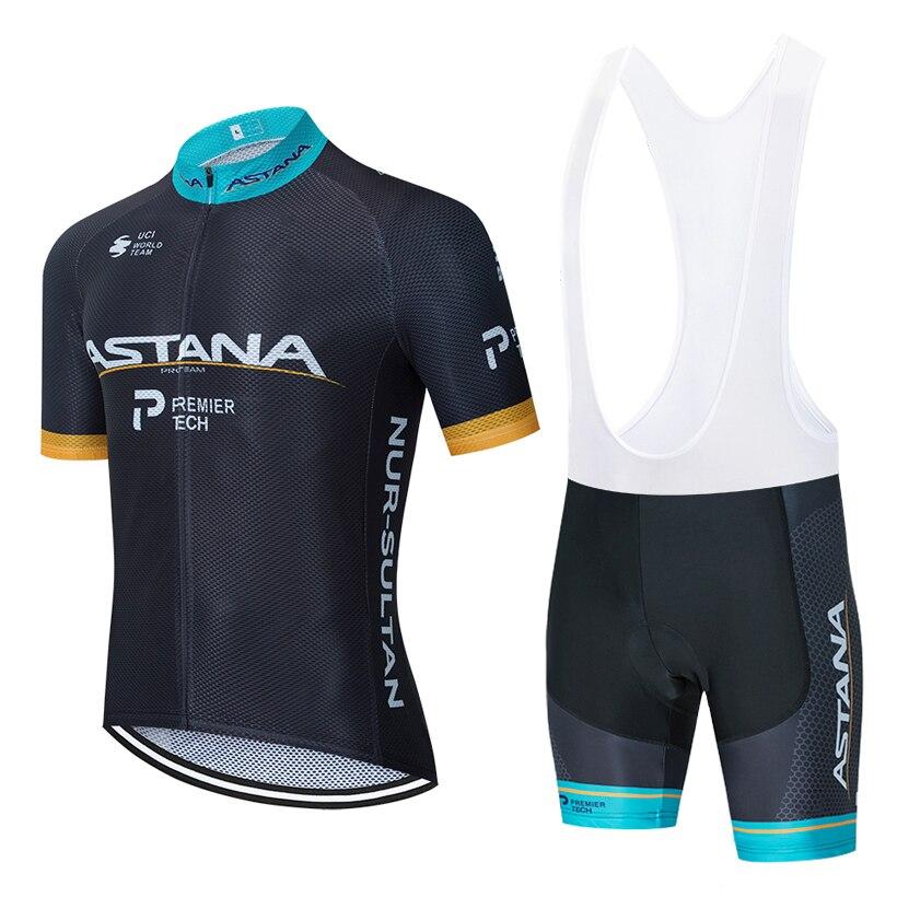 2020 BLACK ASTANA Cycling Team Jersey 20D Bike SHORTS Set Mtb Ropa Mens Summer Quick Dry Pro BIKE Shirts Maillot Culotte Wear