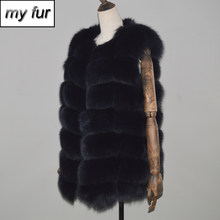 Luxury Party Genuine Real Fox Fur Waistcoat Women Warm Soft Hot Sale Quality Real Fox Fur Vest 100% Real Fox Fur Gilet Coats(China)