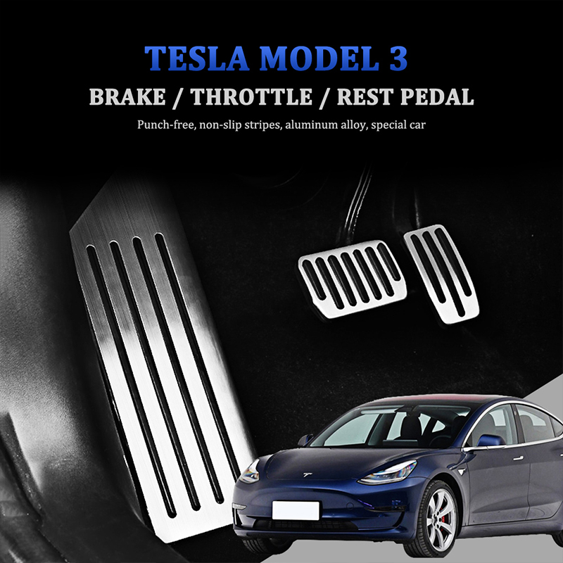 Car Stainless Steel Interior Rest Pedals Gas Brake Pedal Cover Pad Non-Slip Aluminium Alloy For Tesla Model 3 Accessories