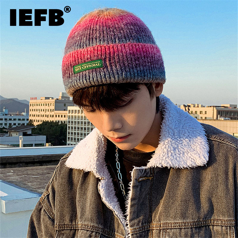 IEFB Korean Style Fashion Chic Tie Dye Gradient Knitting Hat Men And Women New Outdoor Warm Cold Hats Tide Autumn Winter 2021