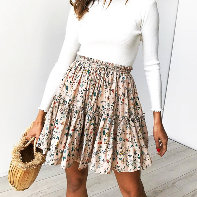 Summer Style Casual Women Beach Boho Mini Skirt 2018 Womens Floral Printed Lotus Fashion Printed Polka-dot Lace-up Skirt Skirts