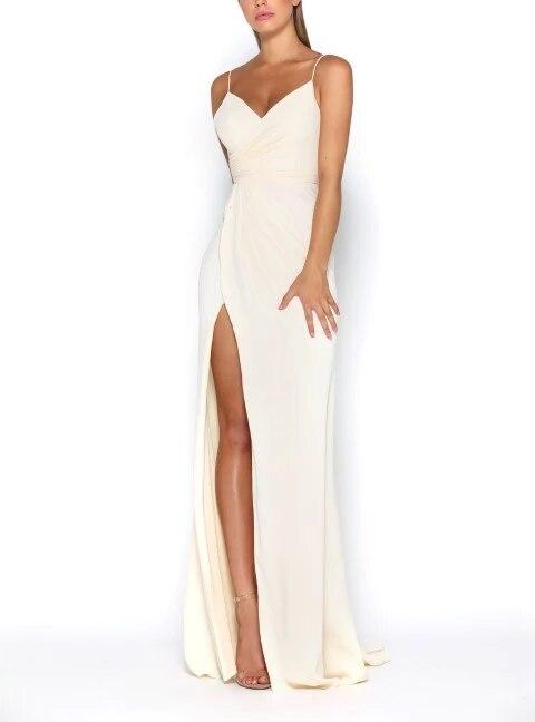 Vestido Madrinha Chiffon Bridesmaid Dresses Long 2020 V-neck Wedding Guest Dress Side Slit Vestido De Festa