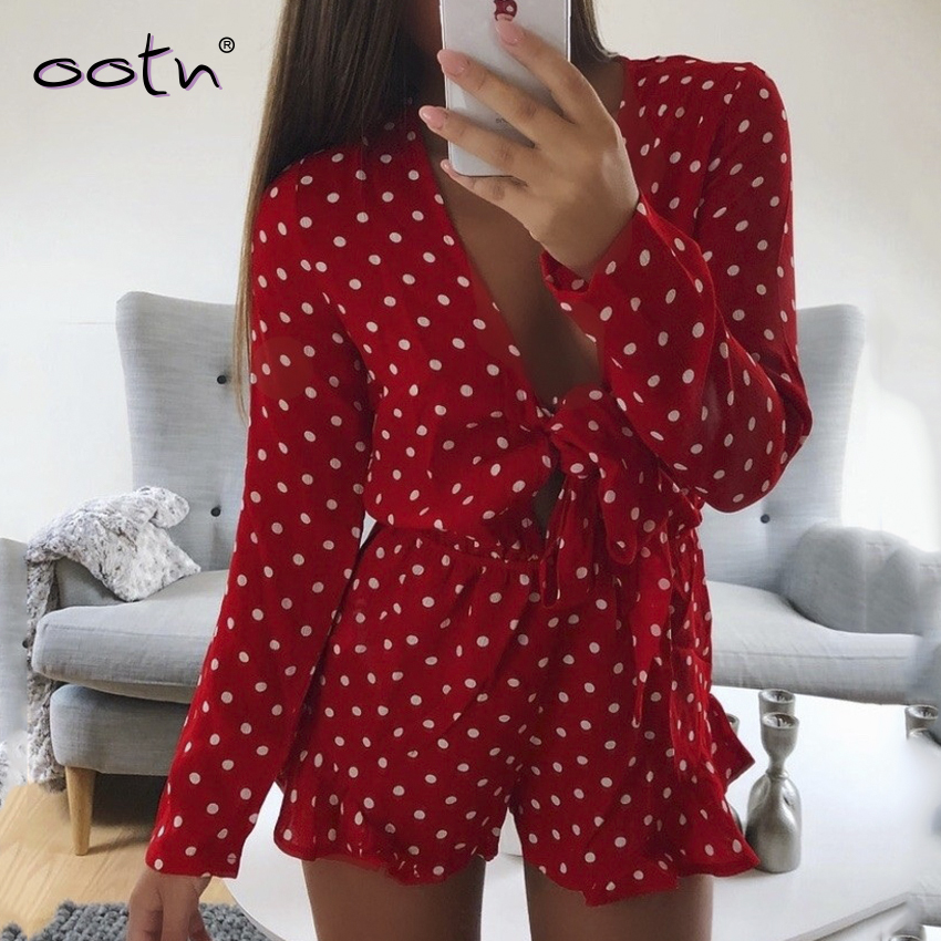 Casual V Neck Jumpsuit Women Polka Dot Red Rompers Sexy Female Long Sleeve Overalls Autumn Winter 2019 Short Ruffle Jumpsuit