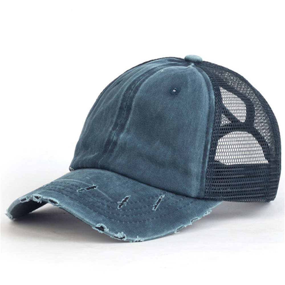 Summer Men And Women Tongue Shade Hat Washed Cap Light Board Cotton Hat Horsetail Baseball Cap Hole Net Cap