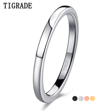 TIGRADE Tungsten 2mm Thin ring for Women Polished Silver Black Gold Rose 4Colors Matt Fashion Female Ring Daily Party