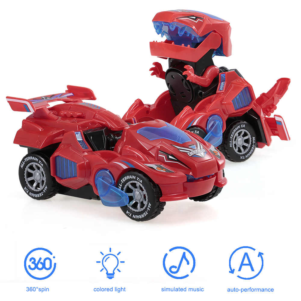 Red EIRMEON Transforming Dinosaur Toys,Transforming Dinosaur Car,2 in 1 Automatic Transform Dino Cars with Music and LED Light,Dinosaur Transformer Toys for Kids Christmas Birthday Gifts