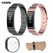 Fifata Metalen Roestvrij Stalen Horloge Band Voor Huawei Band 3/3 Pro/4 Pro Smart Armband Vervanging Polsband Voor Huawei band