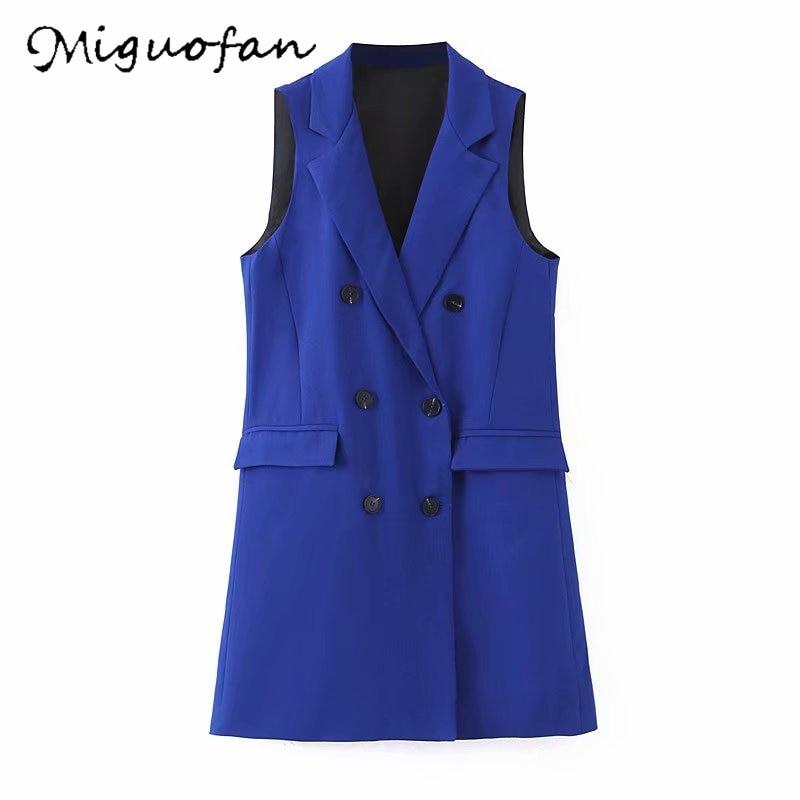 Miguofan Long Vest Double Breast Coat Women Vest Blazers Coats Elegant Sleeveless Pockets Outwear Office Blazers Outweat Top