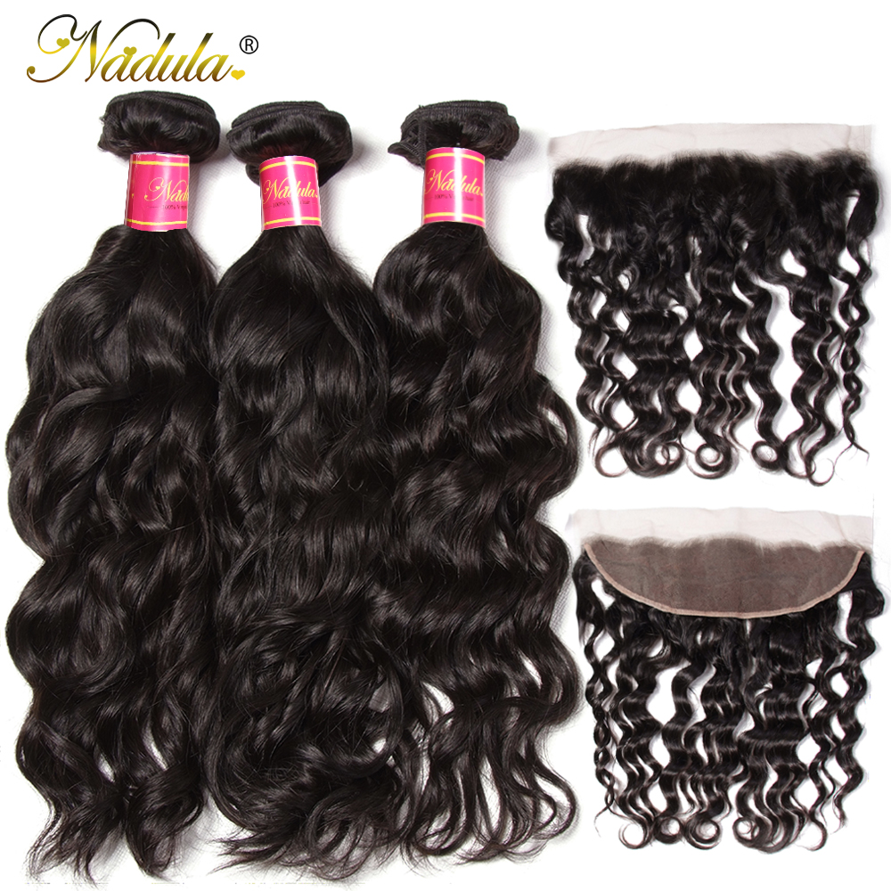 Nadula Hair Natural Wave Bundles With Frontal  s 3 Bundles With Closure 10-26inch  s 1