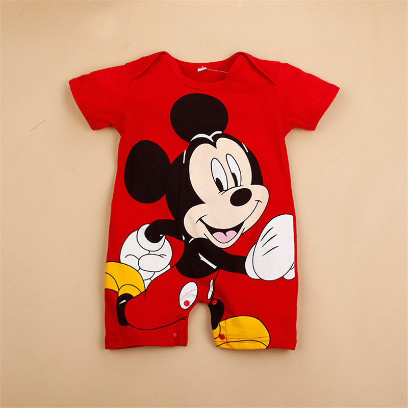 Newborn Baby Girl Toddle Jumpsuits For Newborn Infant Rompers Short Sleeved Baby Cartoon Mickey Cotton Romper