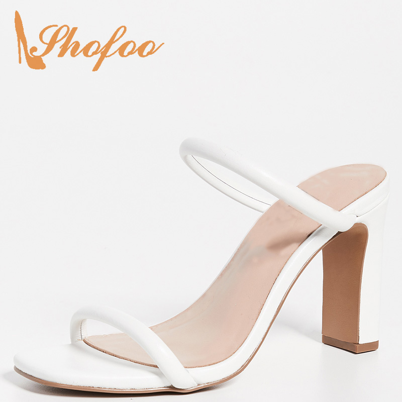 Female Slippers Shoes Heels High-Square Black/white Summer Women Mature Outside Adult