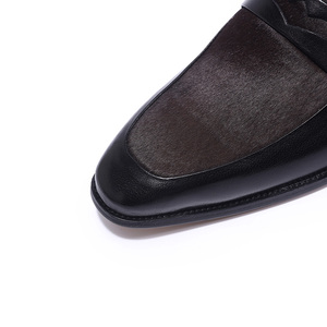 Image 5 - FELIX CHU Luxury Mens Black Penny Loafers Genuine Leather With Horse Hair Pointed Toe Men Formal Party Wedding Dress Shoes