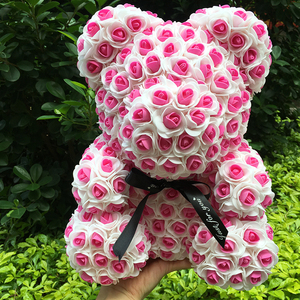Image 2 - 40M Rose Bear With Flower Valentiness Day Gift For Wedding Decoration