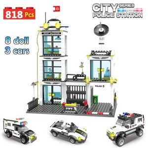 Image 2 - 818Pcs Stad Politie Station Swat Auto Bouwstenen Compatibel Stad Politie Bricks Jongens Vrienden Speelgoed Voor Kinderen Geschenken