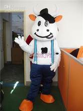 Hot sale Foam Adult New lovely blue suspenders Dairy milk cow Mascot Costume Fancy Dress ADULT festive costumes(China)