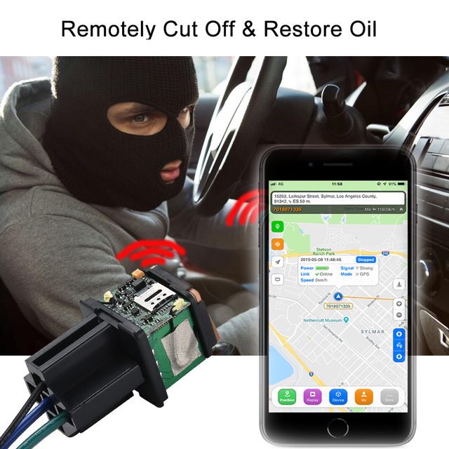 Car GPS Tracker ST-907 Tracking Relay Device GSM Locator Remote Control Anti-theft Monitoring Cut off oil System with free APP 4