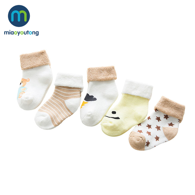 5 pair High Quality Thicken Cartoon Comfort Cotton Newborn Socks Kids Boy New Born Baby Girl Socks Meia Infantil Miaoyoutong 2