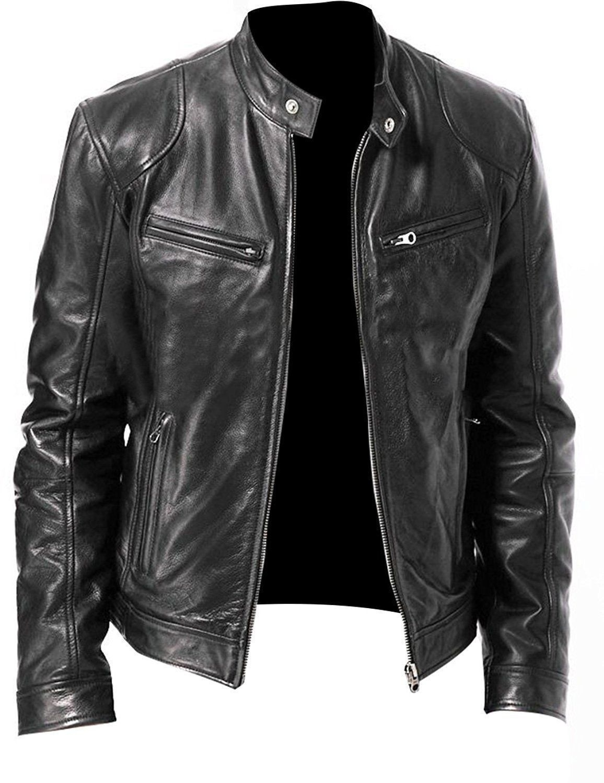 Men's Cardigan Pu Leather Jacket Motorcycle Black Faux Leather Jacket Men Stand Collar Casual Coat Boy Plus Size Xxxl 4xl 5xl