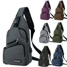 Épaule (Interface de Charge USB) sacoche grand sac à bandoulière poitrine hommes avec poche de bouteille latérale voyage toile fronde marque de luxe