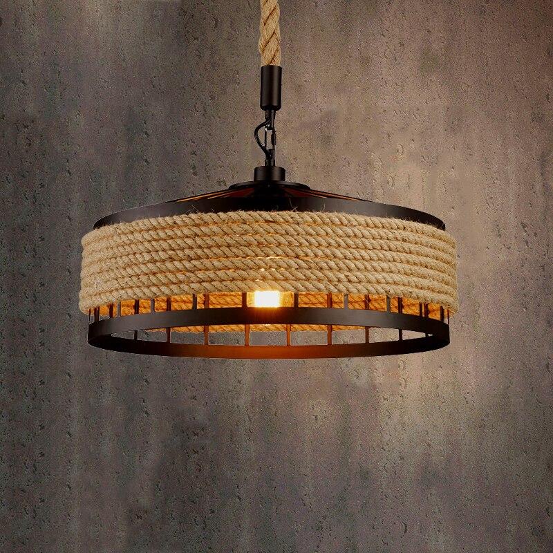 Industrial Metal Kitchen Rope Vintage Pendant Lights Dining Room E27 Restaurant Cafe Retro Loft Chandelier Ceiling Hanging Lamp