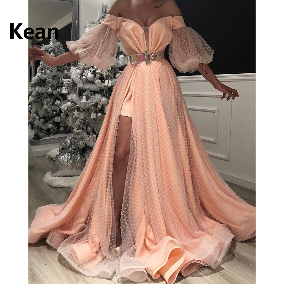 Peach Muslim Evening Dress Off Shoulder High Slit Lace Flower Illusion Islamic Dubai Kaftan Saudi Arabic Prom Dress Custom Made