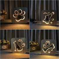 En bois chien patte loup tête lampe enfants veilleuse enfants chambre décoration chaude lumière LED USB veilleuse pour enfants cadeau