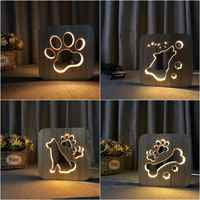 Wooden Dog Paw Wolf Head Lamp children's night light Kids Bedroom Decoration Warm Light LED USB Night Light for Children Gift