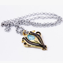 10pcs/lot Fire Emblem Fashion Link Chain Choker Necklace Metal Pendant Blue Crystal Collares Mujer Charm Gift Accessories