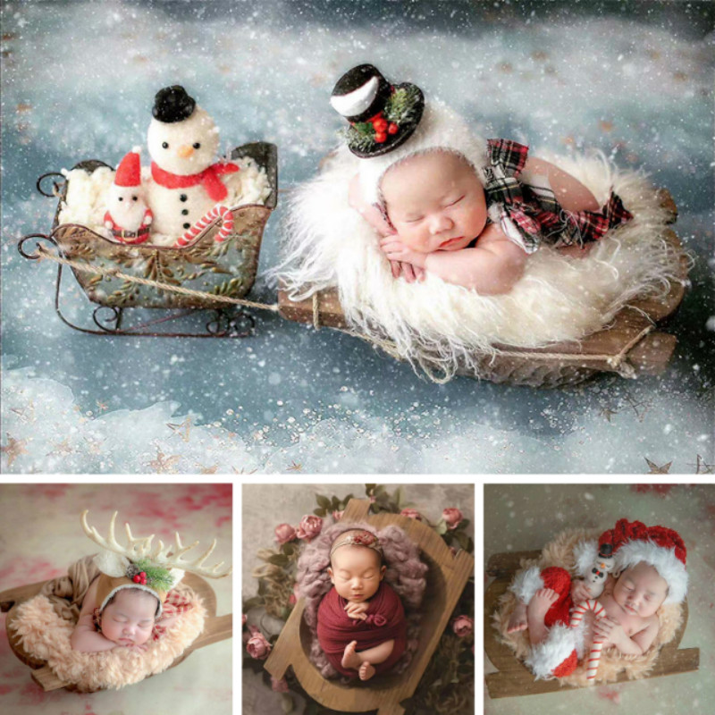 Newborn Photography Props Wooden Basin Posing Props Natural Solid Wood Ship Type Bed Infant Shoot Accessories Creative Props