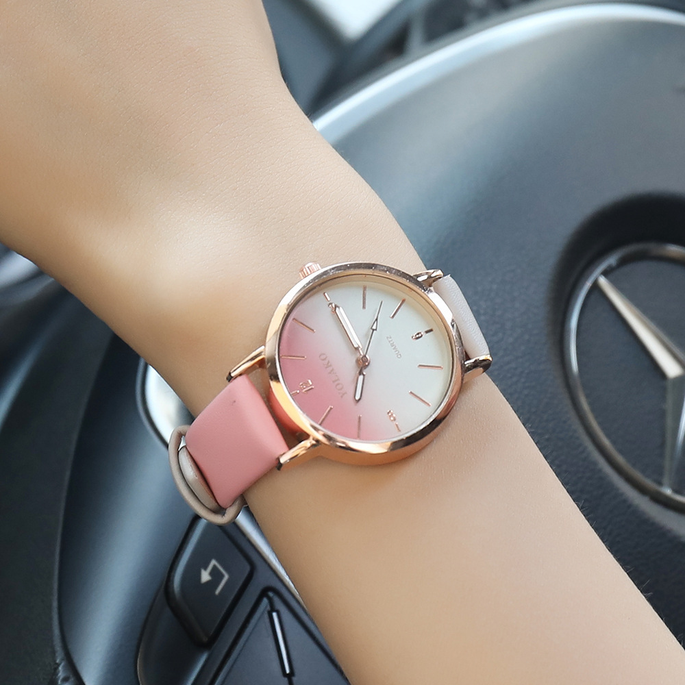 2019 Gradient Color Dial Women Watch Quartz Leather Band Lady Wrist Watch Relogio Feminino Montre Femme Horloge Zegarek Damski