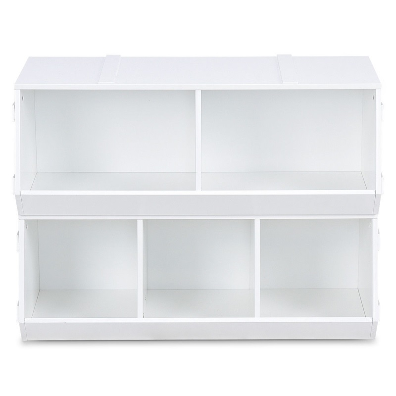 5-section Kids Flexible Stackable Toy Box Organizer Storage Cabinet MDF Children White Cabinets Organizer Furniture HW59599