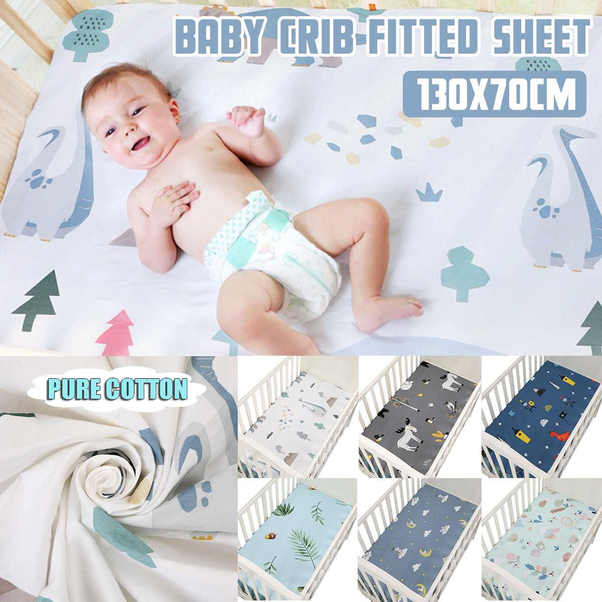 New 100% Cotton Crib Fitted Sheet Soft Breathable Baby Bed Mattress Cover Cartoon Newborn Bedding For Cot Sheet Size 130x70cm