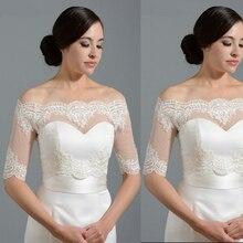 Capes Wedding-Jacket Lace-Dots Wraps Bridal-Bolero-Shrugs Tulle Half-Sleeve Ivory Appliques