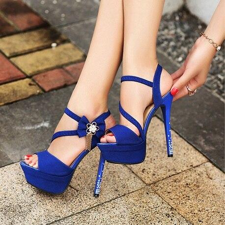 14CM super high heel fine with waterproof platform nightclub sexy tassel shoes rhinestone ladies sandals
