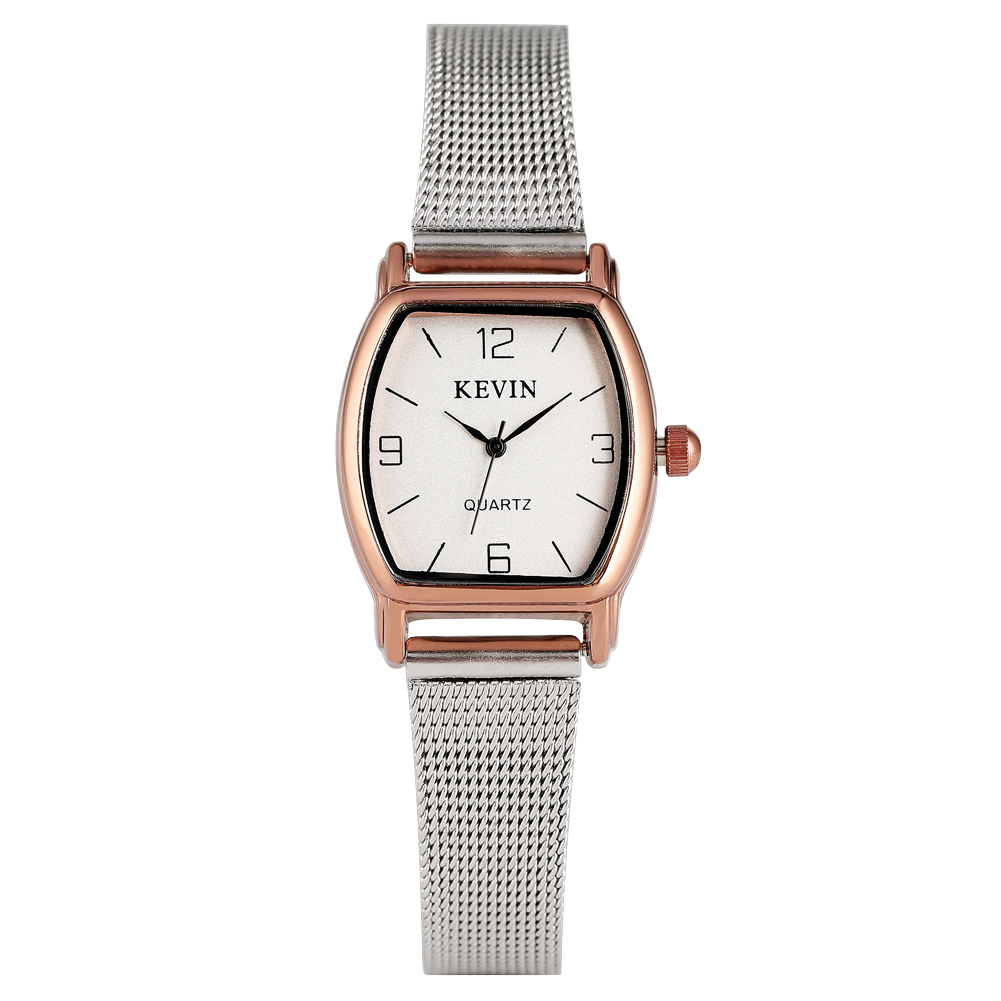 KEVIN Classic Small Black Dial Quartz Watch For Women Solid Stainless Steel Band With Pin Buckle Wristwatch For Female